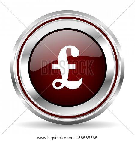 pound icon chrome border round web button silver metallic pushbutton