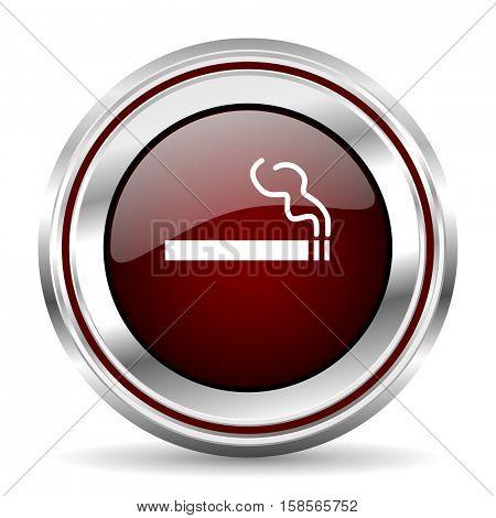 cigarette icon chrome border round web button silver metallic pushbutton