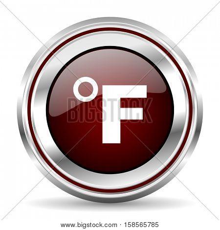 fahrenheit icon chrome border round web button silver metallic pushbutton