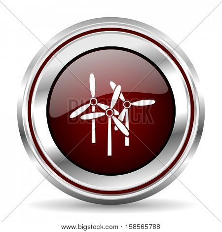windmill icon chrome border round web button silver metallic pushbutton