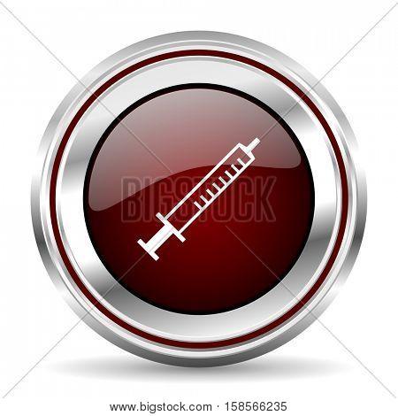 medicine icon chrome border round web button silver metallic pushbutton