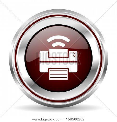printer icon chrome border round web button silver metallic pushbutton