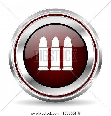 ammunition icon chrome border round web button silver metallic pushbutton
