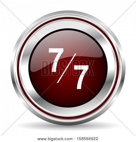 7 per 7 icon chrome border round web button silver metallic pushbutton