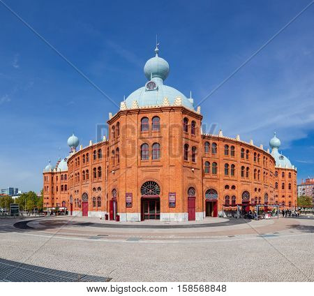 Lisbon, Portugal - October 19, 2016: Side view of the Campo Pequeno Bullring Arena. The most iconic arena in Portugal. 19th century Moorish Revival style. Also hosts concerts and other events.