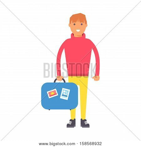 Travel man standing with suitcases ready to travel, people travel concept. Vector vacation man character summer tourism. Male with baggage. Traveler person tourism with bag.