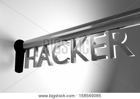 key of hacker open lock keyhole 3D Illustration