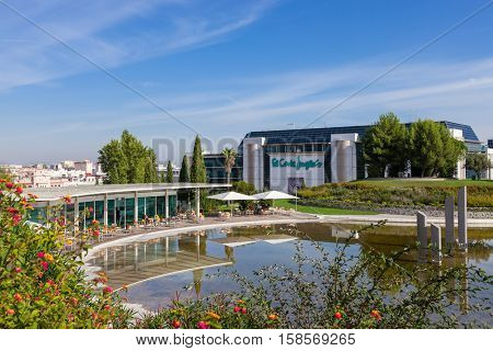 Lisbon, Portugal - October 19, 2016: El Corte Ingles, a high end Shopping Mall of a global retail company, seen from the Amalia Rodrigues Garden.