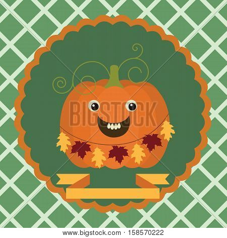Halloween autumn background with smiling pumpkin on a green background