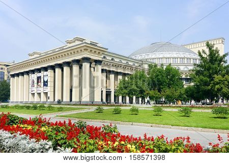 NOVOSIBIRSK, RUSSIA - JULY 30, 2016: Opera and ballet theater in Novosibirsk, Siberia, Russian Federation