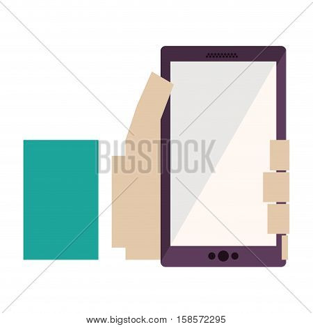 hand holding cellphone with green sleeve vector illustration