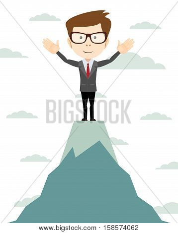 Young Successful businessman winner standing on peak mountain. Going to the top.