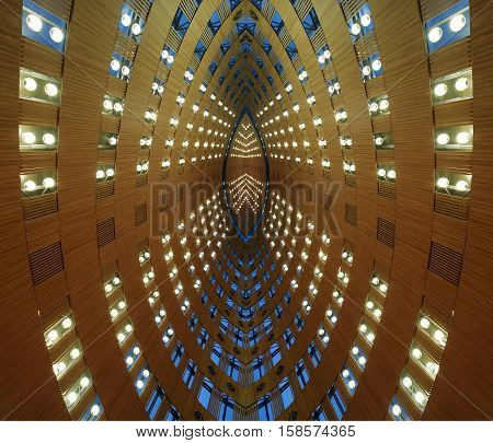Futuristic tunnel of abstract architectural structures -- architectural background