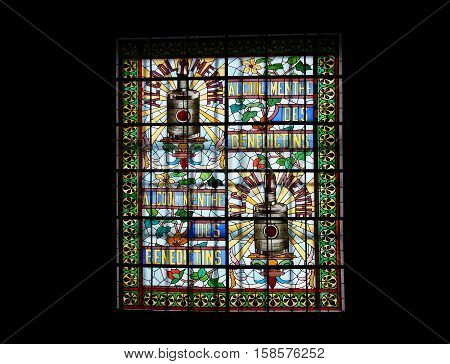 Stained Glass Window.  Benedictine Palace Museum In Fecamp, Haute-normandie Region In Northern Franc