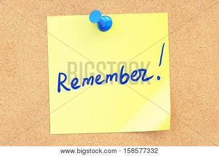 Remember text on a sticky note pinned to a corkboard. 3D rendering