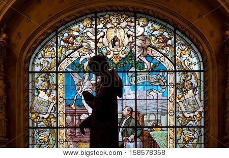 Fecamp, France, May 05: Fecamp, France, May 05, 2012. Stained Glass Window.  Benedictine Palace Muse