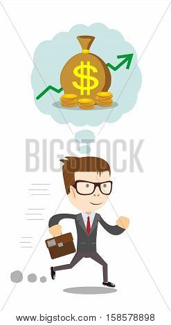 Running Businessman dreaming about money. Vector flat illustration