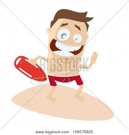 comic clipart of a happy lifeguard
