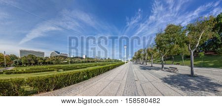Lisbon, Portugal. Typical Portuguese handmade cobblestone pavement in the Eduardo VII Park. Largest park in the city center, next to the Marques de Pombal square and Liberdade Avenue.
