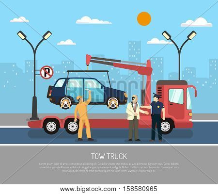 Tow truck evacuating car from towaway zone on cityscape background flat vector illustration