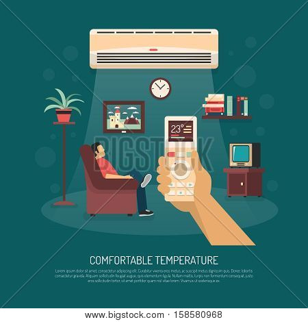 Home ventilation conditioning and heating equipment providing comfortable temperature flat vector illustration