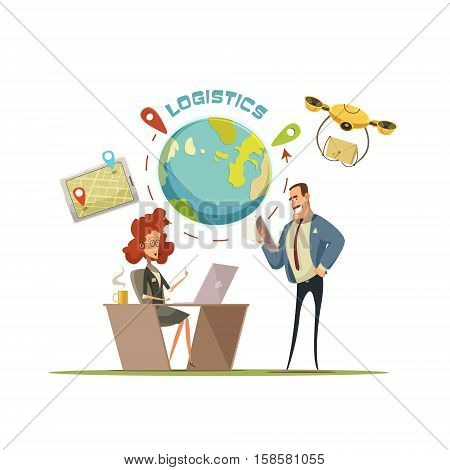 Logistics and delivery retro cartoon concept with globe and transportation symbols vector illustration