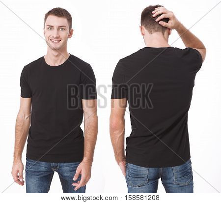 t-shirt design and people concept - close up of young man in blank white t-shirt isolated.