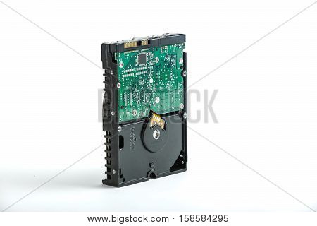 closeup, isolated, recovery, file, plate, platter, gigabyte, white, record, media, hardware, server, data, digital, byte, chip, spin, memory, security, technology, computer, equipment, hard, modern, magnetic, object, disk, pcb, desktop, pc, metallic, driv