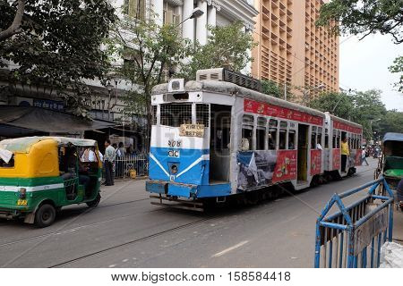 KOLKATA, INDIA - FEBRUARY 11: Traditional tram downtown Kolkata on February 11, 2016. Kolkata is the only Indian city with a tram network, which is operated by the Calcutta Tramways Comp.