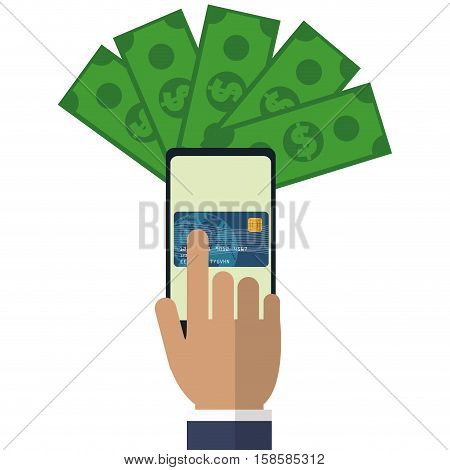 hand touch cellphone payment application vector illustration eps 10