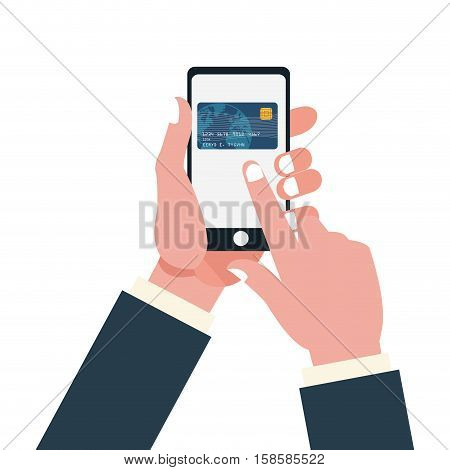 hand holds smartphone touch credit card vector illustration eps 10