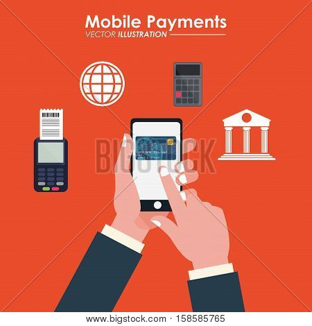 hand touch cellphone credit card bank dataphone vector illustration eps 10