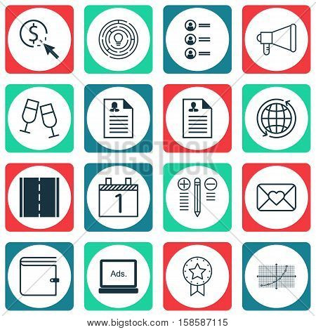 Set Of 16 Universal Editable Icons. Can Be Used For Web, Mobile And App Design. Includes Icons Such As Announcement, Innovation, Wallet And More.