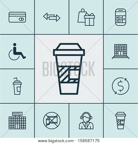 Set Of Traveling Icons On Plastic Card, Calculation And Hotel Construction Topics. Editable Vector Illustration. Includes Mobile, Arrows, Holiday And More Vector Icons.