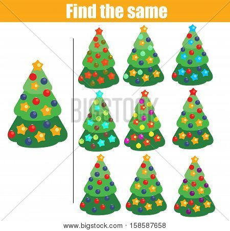 Find the same pictures children educational game. Find equal christmas tree kids activity. winter holidays theme