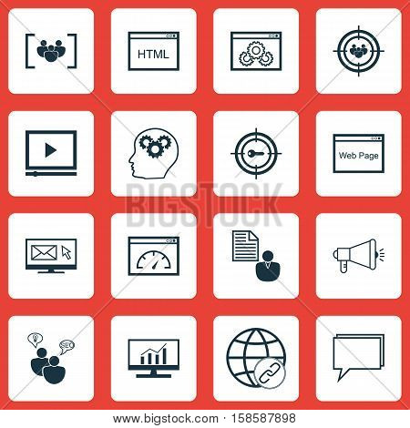Set Of Advertising Icons On Video Player, Brain Process And SEO Brainstorm Topics. Editable Vector Illustration. Includes Client, SEO, Website And More Vector Icons.