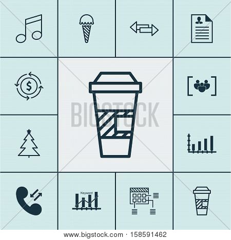 Set Of 12 Universal Editable Icons. Can Be Used For Web, Mobile And App Design. Includes Icons Such As Frozen Food, Cellular Data, Curriculum Vitae And More.