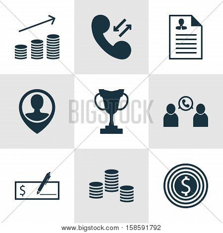 Set Of Human Resources Icons On Cellular Data, Curriculum Vitae And Phone Conference Topics. Editable Vector Illustration. Includes Stacked, Cup, Trophy And More Vector Icons.