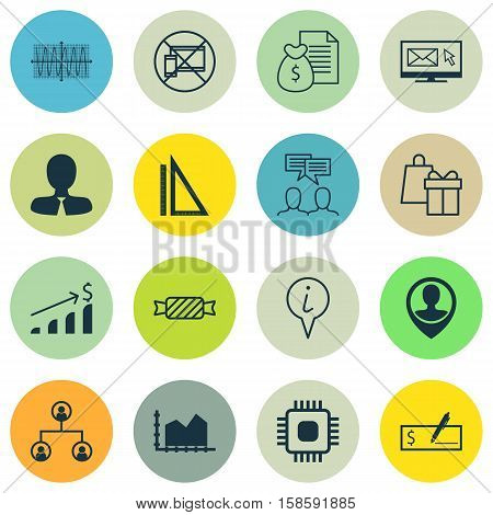 Set Of 16 Universal Editable Icons. Can Be Used For Web, Mobile And App Design. Includes Icons Such As Info Pointer, Bank Payment, Measurement And More.