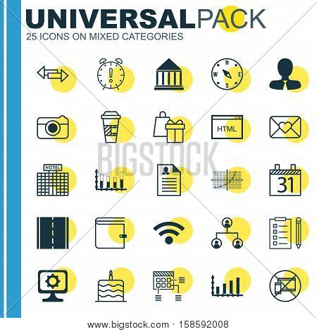 Set Of 25 Universal Editable Icons. Can Be Used For Web, Mobile And App Design. Includes Icons Such As Shopping, Hotel Construction, Wireless And More.