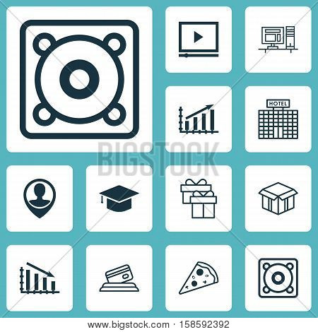 Set Of 12 Universal Editable Icons. Can Be Used For Web, Mobile And App Design. Includes Icons Such As Graduation, Profit Graph, Sliced Pizza And More.