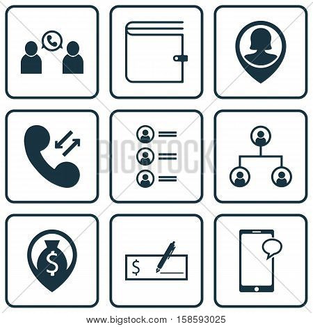 Set Of Hr Icons On Pin Employee, Cellular Data And Messaging Topics. Editable Vector Illustration. Includes Purse, Cash, Mobile And More Vector Icons.