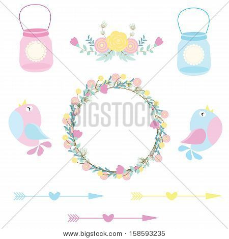 Wedding illustration with cute birds, arrows, cute bottle and flower wreath suitable for wedding sticker set, and clip art