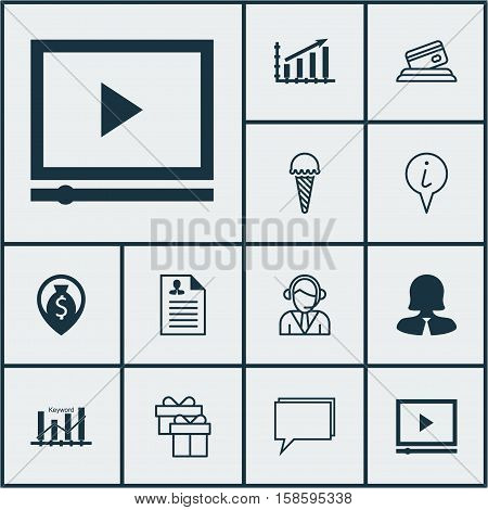 Set Of 12 Universal Editable Icons. Can Be Used For Web, Mobile And App Design. Includes Icons Such As Money Navigation, Profit Graph, Video Player And More.