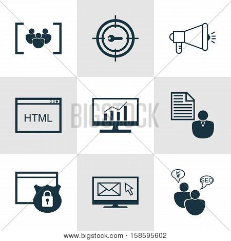 Set Of SEO Icons On Media Campaign, Security And SEO Brainstorm Topics. Editable Vector Illustration. Includes Web, Target, Marketing And More Vector Icons.