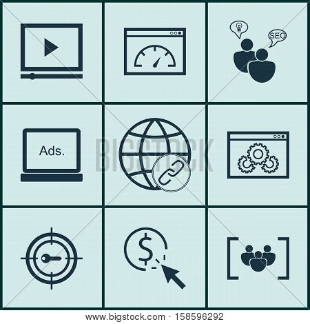 Set Of Advertising Icons On Questionnaire, Video Player And Loading Speed Topics. Editable Vector Illustration. Includes Bulding, Group, Click And More Vector Icons.