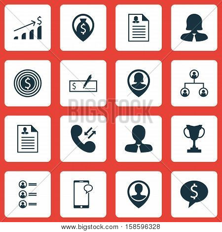 Set Of Human Resources Icons On Cellular Data, Curriculum Vitae And Employee Location Topics. Editable Vector Illustration. Includes Organisation, Money, Discussion And More Vector Icons.