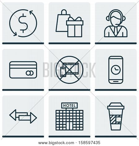 Set Of Traveling Icons On Shopping, Operator And Call Duration Topics. Editable Vector Illustration. Includes Coffee, Device, Transfer And More Vector Icons.