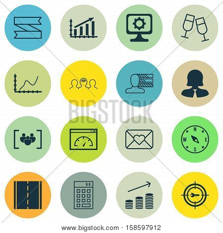 Set Of 16 Universal Editable Icons. Can Be Used For Web, Mobile And App Design. Includes Icons Such As Locate, Blank Ribbon, Investment And More.