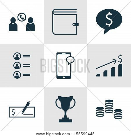 Set Of Human Resources Icons On Wallet, Phone Conference And Bank Payment Topics. Editable Vector Illustration. Includes Mobile, Trophy, Job And More Vector Icons.